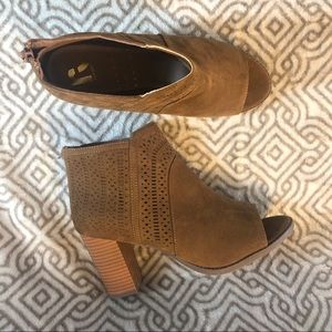 REPORT Serena Open Toe Booties Ankle Chunky